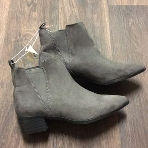 Gray suede pointed toe boots